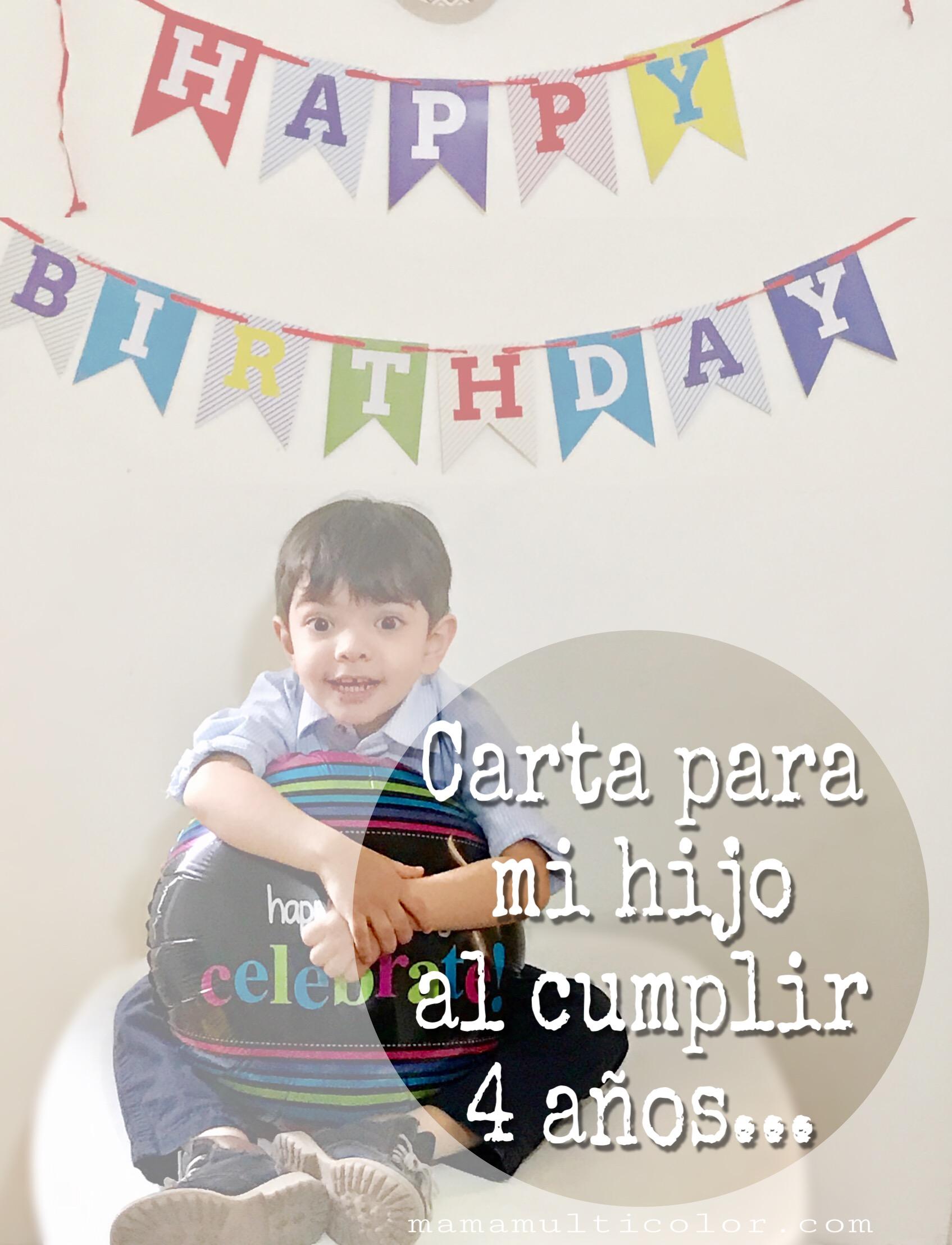Carta de feliz cumpleanos para mi hija de 4 anos